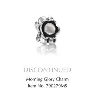Pandora morning glory silver moonstone charm